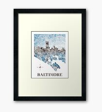 Baltimore City Skyline Neighborhood Map Framed Print
