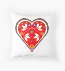 Folk heart 1 centre Throw Pillow