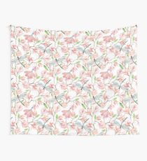 Dragonflies and Pink Magnolia Flowers Wall Tapestry