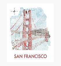 San Francisco Golden Gate Neighborhood Map Photographic Print