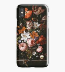 Rachel Ruysch - Flowers In A Glass Vase1704 . Still life with flowers:  bouquet, flowers, bumblebee , carnations, peonies, roses, tulips,  marigolds,  life, garden, blossom iPhone Case/Skin