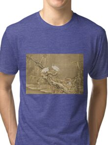 Shen Nanpin - Album Of Birds And Animals (Cranes). Forest view: forest , trees,  fauna, nature, birds, animals, flora, flowers, plants, field, weekend Tri-blend T-Shirt