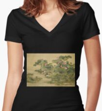Shen Nanpin - Album Of Birds And Animals (Mandarin Ducks And Lotus Flowers). Forest view: forest , trees,  fauna, nature, birds, animals, flora, flowers, plants, field, weekend Women's Fitted V-Neck T-Shirt