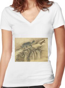 Shen Nanpin - Album Of Birds And Animals (Qilin). Forest view: forest , trees,  fauna, nature, birds, animals, flora, flowers, plants, field, weekend Women's Fitted V-Neck T-Shirt