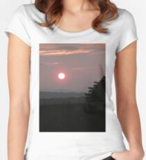 Sunset Land, Derry, Ireland. Women's Fitted Scoop T-Shirt