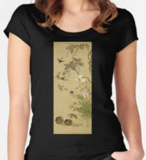 Suzuki Kiitsu - Birds And Flowers. Forest view: forest , trees,  fauna, nature, birds, animals, flora, flowers, plants, field, weekend Women's Fitted Scoop T-Shirt