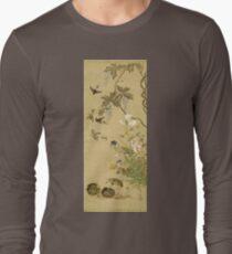 Suzuki Kiitsu - Birds And Flowers. Forest view: forest , trees,  fauna, nature, birds, animals, flora, flowers, plants, field, weekend Long Sleeve T-Shirt
