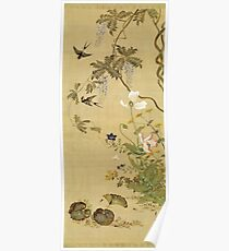 Suzuki Kiitsu - Birds And Flowers. Forest view: forest , trees,  fauna, nature, birds, animals, flora, flowers, plants, field, weekend Poster