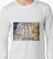 Robert Delaunay - La Ville De Paris. Abstract painting: abstraction, geometric, Nude Woman, composition, lines, forms, creative fusion, music, kaleidoscope, illusion, fantasy future Long Sleeve T-Shirt