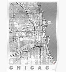 Chicago Map Line Poster