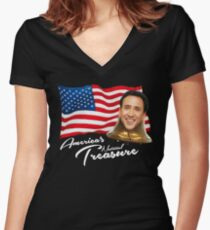 America's National Treasure - White Text Women's Fitted V-Neck T-Shirt