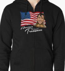 America's National Treasure - White Text Zipped Hoodie