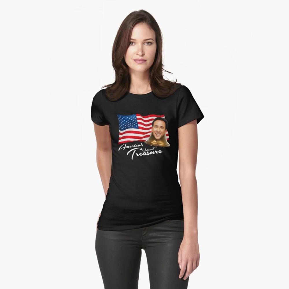 Amerikas nationaler Schatz - weißer Text Tailliertes T-Shirt