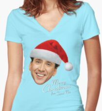 Merry Christmas from St Nic-olas Cage Women's Fitted V-Neck T-Shirt