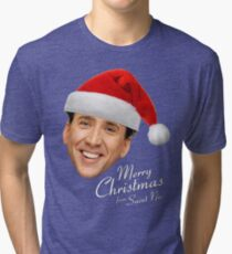 Merry Christmas from St Nic-olas Cage Tri-blend T-Shirt