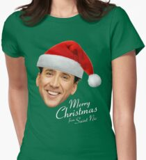 Merry Christmas from St Nic-olas Cage Women's Fitted T-Shirt
