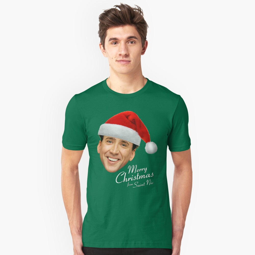 Merry Christmas from St Nic-olas Cage Unisex T-Shirt Front