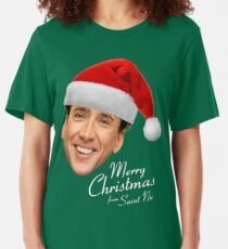 Merry Christmas from St Nic-olas Cage Slim Fit T-Shirt