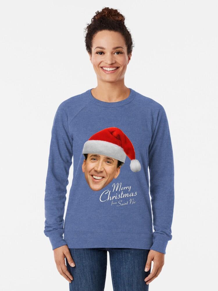 Alternative Ansicht von Frohe Weihnachten von St Nic-Olas Cage Leichter Pullover