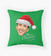 Merry Christmas from St Nic-olas Cage Throw Pillow