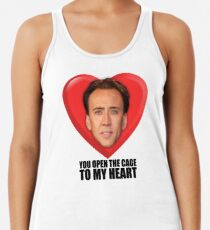 Nicolas Cage - You Open the Cage to My Heart Racerback Tank Top