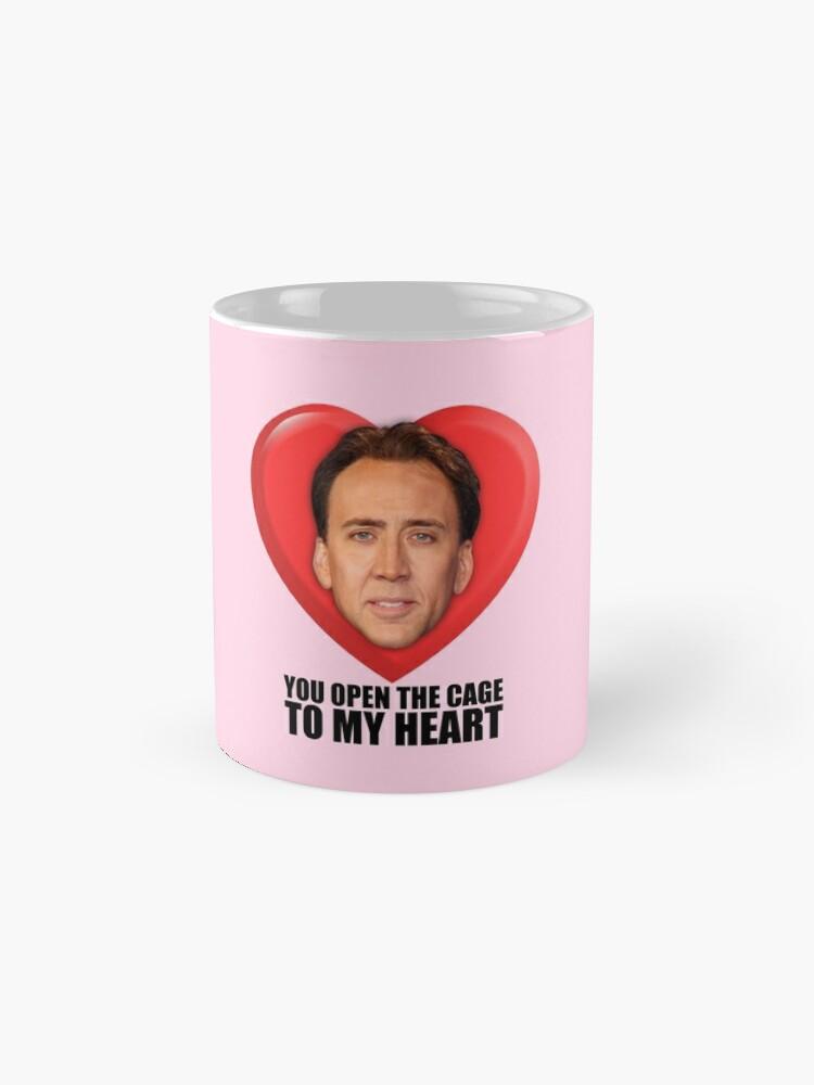 Alternative Ansicht von Nicolas Cage - Du öffnest den Käfig zu meinem Herzen Tasse (Standard)