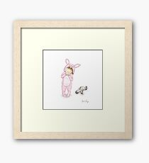 Onesie Rabbit Girl Framed Print