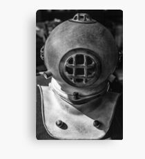 black and white photograph of an old divers helmet Canvas Print