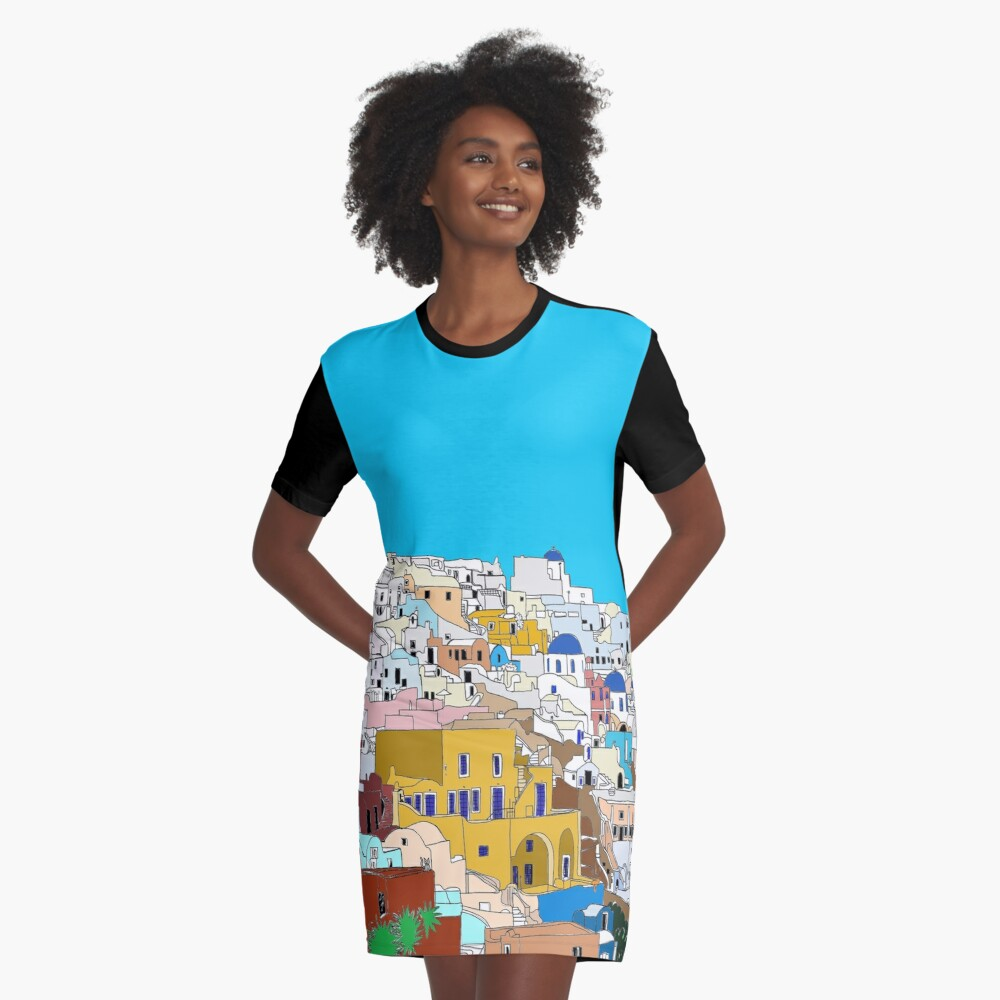 Santorini in Colour Graphic T-Shirt Dress Front
