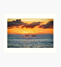 Rapa Nui Sunset, Easter Island, Chile Art Print