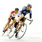 Cyclists into the Last Curve - Color Version by Buckwhite