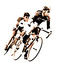 Cyclists into the Curve - High Contrast Sepia by Buckwhite
