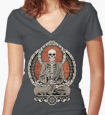 Skeleton Buddha Women's Fitted V-Neck T-Shirt
