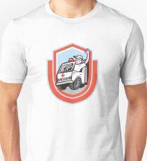 Ambulance Emergency Vehicle Driver Waving Shield Cartoon T-Shirt