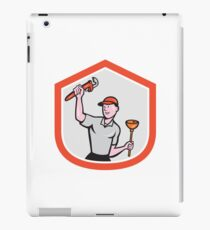 Plumber Wielding Wrench Plunger Cartoon iPad Case/Skin
