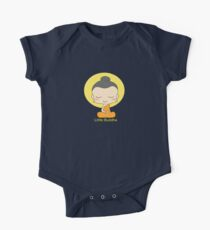 Little Buddha - black background & yellow writing  Kids Clothes