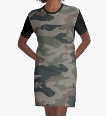 Camo Army Style Graphic T-Shirt Dress