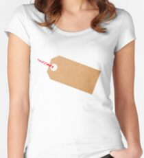 Gift Tag Brown Card With String Women's Fitted Scoop T-Shirt