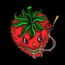 Sinister Strawberry (pillow) by Ameda Nowlin