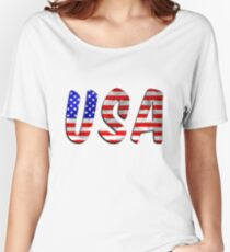 USA Word With Flag Texture Women's Relaxed Fit T-Shirt
