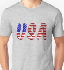 USA Word With Flag Texture T-Shirt