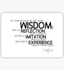 wisdom: reflection, imitation, experience - confucius Sticker