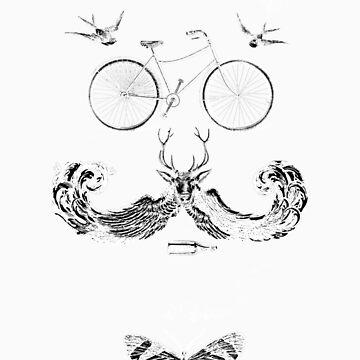 vintage bike face - white by KFledderman