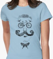 vintage bike face - black Women's Fitted T-Shirt
