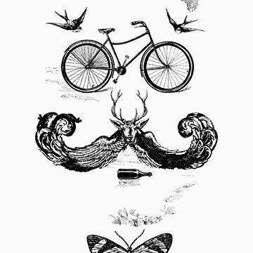 vintage bike face - black by KFledderman