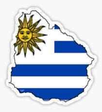 Uruguay Map With Uruguay Flag Sticker