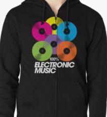 100% Electronic Music (black) Zipped Hoodie