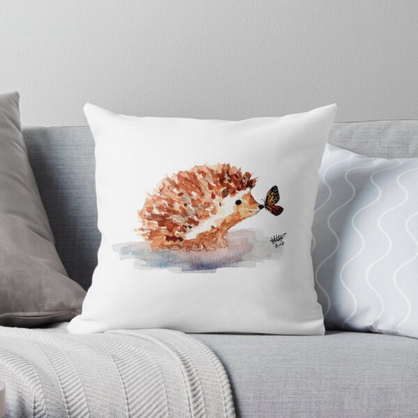 Hedgehog and Butterfly Kisses Throw Pillow