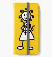 The Girl with the Curly Hair Holding Cat - Yellow iPhone Wallet/Case/Skin