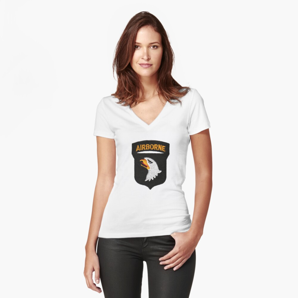 101st Airborne Patch -  iPad Case Women's Fitted V-Neck T-Shirt Front